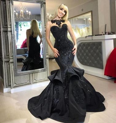 Amazing Black Mermaid Prom Dresses   Sleeveless Beaded Evening Gowns_4