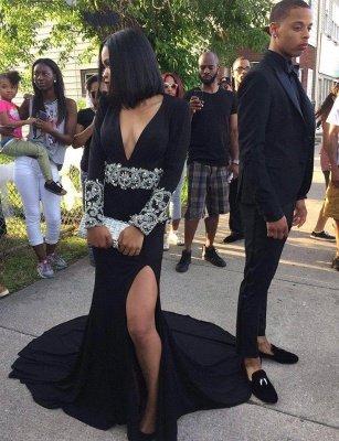 Split Crystal Sexy V-Neck Long-Sleeve Black Prom Dress_2