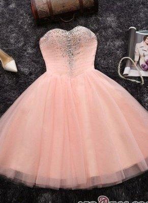 Short Crystals A-line Pink Sweetheart-Neck Elegant Homecoming Dresses_2