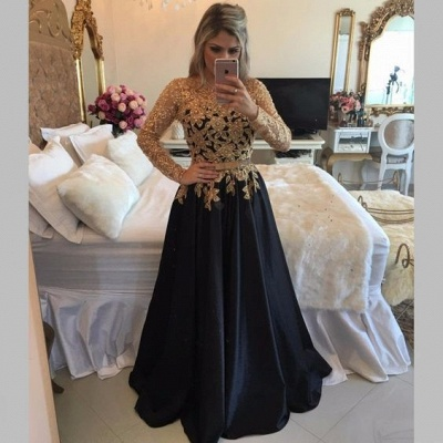Gold Black Puffy Prom Dresses Lace Appliques Pearls Long Sleeves Puffy Formal Gowns_3