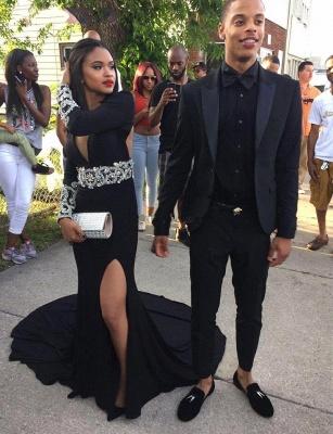 Split Crystal Sexy V-Neck Long-Sleeve Black Prom Dress_3