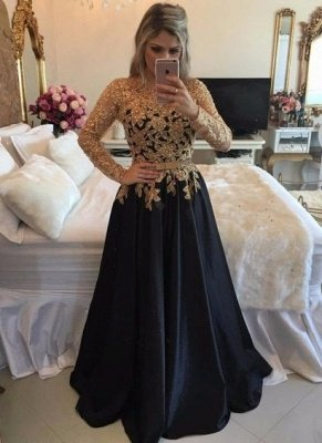 Gold Black Puffy Prom Dresses Lace Appliques Pearls Long Sleeves Puffy Formal Gowns_2