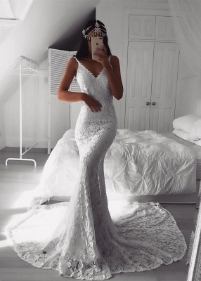 Lace V-neck White Sexy Mermaid Wedding Dress | Affordable Bridal Dresses_1