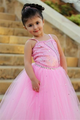 Pretty Pink Crystal Flower Girl Dresses | Open Back Pageant Dress with Detachbale Skirt_3