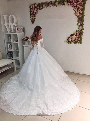 Modest Off Shoulder Long Sleeve Lace Puffy Wedding Dress_3