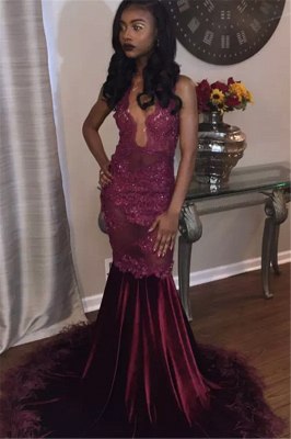 Sleeveless Long Mermaid Prom Dresses | Burgundy Sparkly Feather Evening Gowns_1