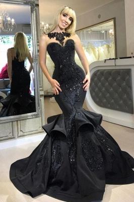 Amazing Black Mermaid Prom Dresses   Sleeveless Beaded Evening Gowns_1
