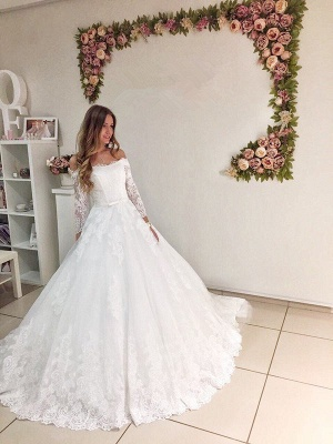 Modest Off Shoulder Long Sleeve Lace Puffy Wedding Dress_1