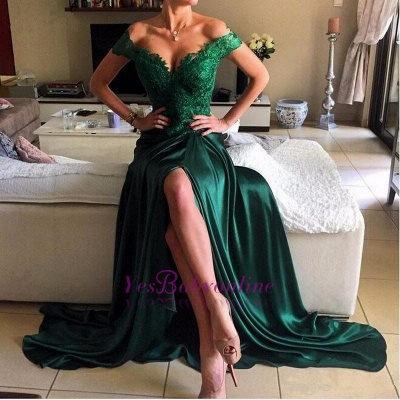 Off-the-shoulder Prom Dresses Lace Elegant Dark Green Appliques Evening Dresses_1