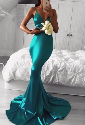 Spaghetti-Strap Sleeveless Mermaid Green Sexy Prom Dress_3