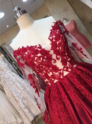 2019 Red Puffy Prom Dresses Off-the-Shoulder Long Sleeves Lace Appliques Evening Gowns_3