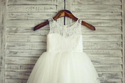 Lovely Illusion Sleeveless Lace Tulle Short Flower Girl Dress_2