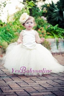 Pearls Flower Tull Sleeveless Ball-Gown Scoop Girl Dresses_1