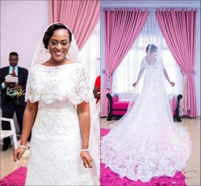 Wrap Sweep Train Exquisite White Lace Appliques Wedding Dress_3