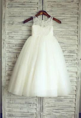 Lovely Illusion Sleeveless Lace Tulle Short Flower Girl Dress_1