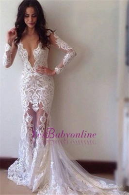 Appliques Sexy Sheath Lace Glamorous Long-Sleeves Prom Dress_1