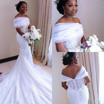 Glamorous Open Back Mermaid Wedding Dresses | Off-the-Shoulder Long Bridal Gowns_3