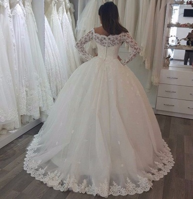 Floor Length Tulle Lace Wedding Dresses | Off the Shoulder Long Sleeves Ball Gowns with Appliques_3