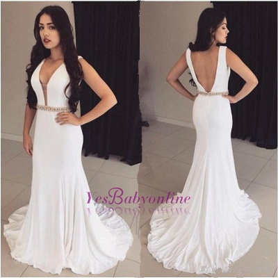 Crystals Sleeveless Bodycon White Modest Straps Prom Dress_1