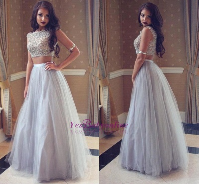 Sexy Two-Pieces Long Beadings Mesh Prom Dress_1