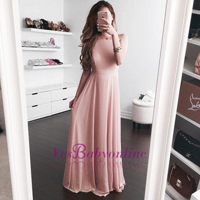 2019 Simple Pink A-line Prom Dresses  Long Evening Gowns_1