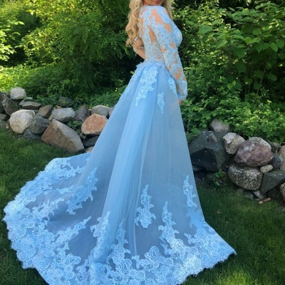 Sexy Lace Mermaid Prom Dresses | V-Neck Long Sleeves Over Skirt Evening Dresses_3