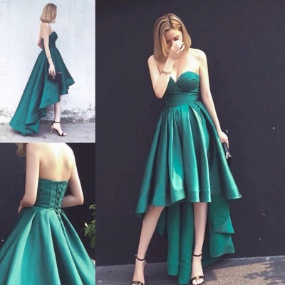Asymmetrical Ruffles Sleeveless Hi-Lo Sweetheart Lace-up Hot Evening Gown_3