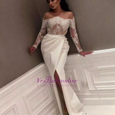 White Off-the-Shoulder Prom Dresses | Sexy Side-Slit Evening Gowns_1