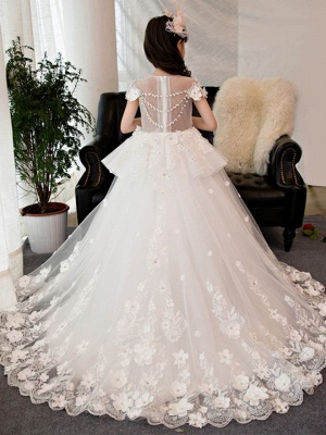 Lovely Tulle Short Sleeves Beading Girl Party Dress | Jewel Neck Court Train Ball Gown Flower Girl Dress_2