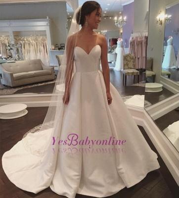 Stunning Simple Sleeveless Sweetheart A-line White Sweep Train Wedding Dress_1