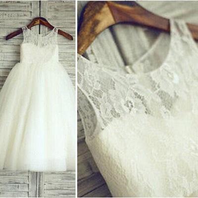 Lovely Illusion Sleeveless Lace Tulle Short Flower Girl Dress_3