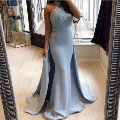 Elegant Blue Mermaid Prom Dresses | High Neck Evening Gowns with Overskirt_3