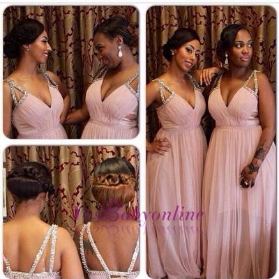 Pink Beading-Straps V-Neck A-line Chiffon Bridesmaid Dresses_1