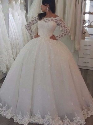 Floor Length Tulle Lace Wedding Dresses | Off the Shoulder Long Sleeves Ball Gowns with Appliques_1