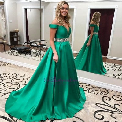 Off-the-Shoulder Gorgeous Green Crystal Prom Dress_1