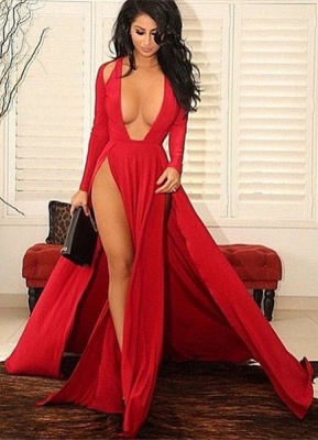 Sexy Red Slits Party Dress Long Sleeves Plunging Neck Pageant Dress_2