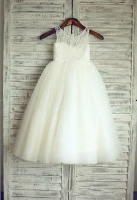 Lovely Illusion Sleeveless Lace Tulle Short Flower Girl Dress