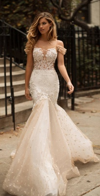 Off-the-shoulder Lace Appliques Wedding Dresses | Mermaid Tulle Long Bridal Gowns_4