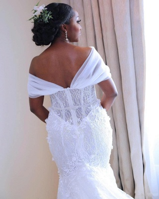 Glamorous Open Back Mermaid Wedding Dresses | Off-the-Shoulder Long Bridal Gowns_4