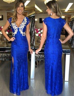 Zipper Split Royal-Blue Applique Mermaid V-Neck Long Sexy Prom Dresses_2