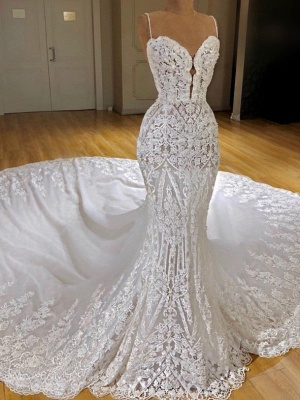 Gorgeous Lace Mermaid Wedding Dresses   Spaghetti Straps Fit and Flare Bridal Gowns_1