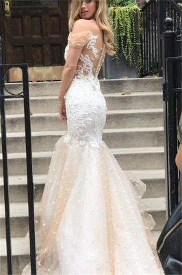 Off-the-shoulder Lace Appliques Wedding Dresses | Mermaid Tulle Long Bridal Gowns_1