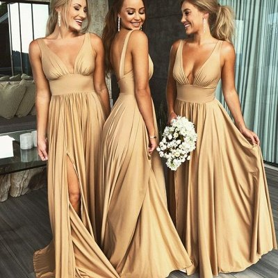 Elegant V-Neck Sleeveless Bridesmaid Dress | 2020 Bridesmaid Dress With Slit_2