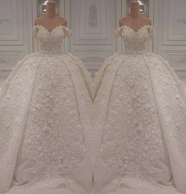 Luxurious Off The Shoulder Applique Beading Ball Gown Wedding Dresses | Puffy Bridal Gown_2