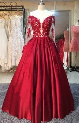 2019 Red Puffy Prom Dresses Off-the-Shoulder Long Sleeves Lace Appliques Evening Gowns_2