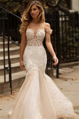 Off-the-shoulder Lace Appliques Wedding Dresses | Mermaid Tulle Long Bridal Gowns_2