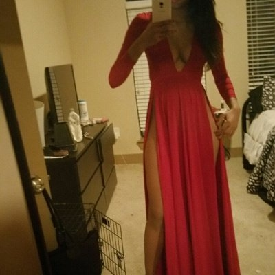 Sexy Red Slits Party Dress Long Sleeves Plunging Neck Pageant Dress_3