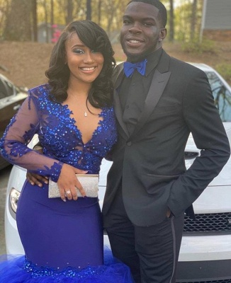 Royal Blue Long Sleeve Applique Beading Memaid Prom Dresses   V Neck Tiered Evening Gown_3