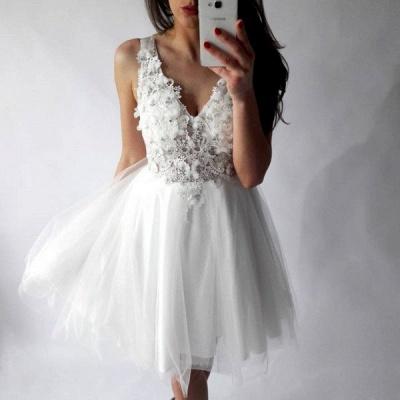Chic Straps A-Line Homecoming Dresses | Sleeveless V-Neck Cocktail Dresses_3