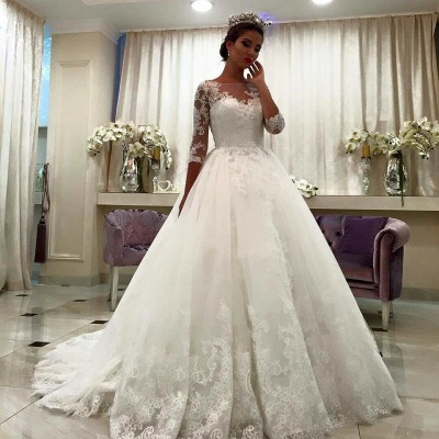 Lace Bateau Ball-Gown Half-Sleeve Appliques Chapel-Train Wedding Dresses_3